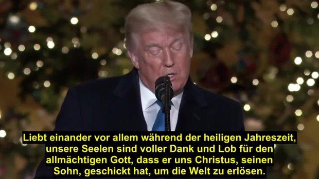 Präsident Donald Trump dankt Gott, dass er seinen Sohn geschickt hat, um die Welt zu erlösen!